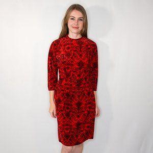 VINTAGE  Natlyn Damask Velvet Jacquard Red Dress